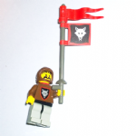 Lego Wolf People - Wolfpack 1 with Black Arms, Brown Hood, Red Plastic Cape & banner